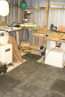 Flooring under router table, bandsaw and drillpress