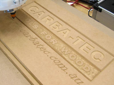 Closeup of CNC-carved sign
