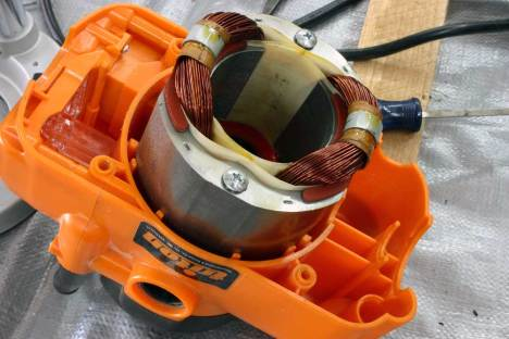 Triton Stator (image from www.horizontalheavens.com) - static electromagnets typically replace the permanent magnets in AC motors