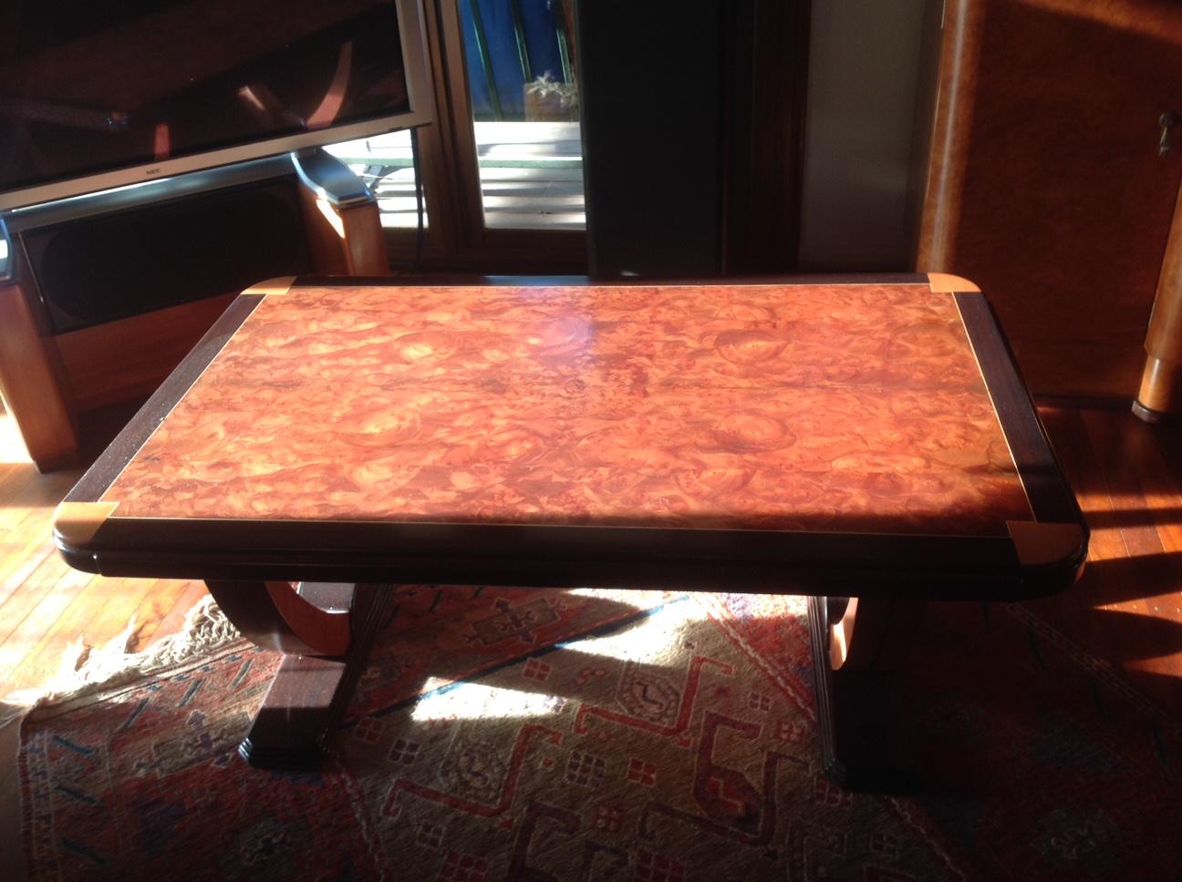 Triton stus shed deco coffee table made of wenge tasmanian myrtle and makore mahogany veneer greentooth Choice Image